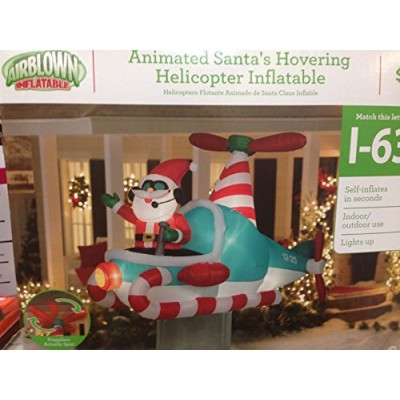 Christmas Inflatable 7' Santa In Hovering Candy Cane Helicopter By Gemmy
