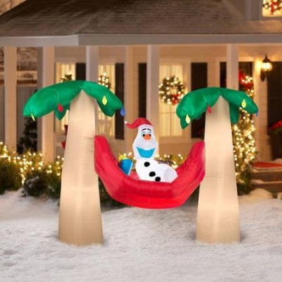 Fun 7.5' Airblown Inflatable Olaf in Hammock with Palm Trees Scene Disney Christmas Inflatable