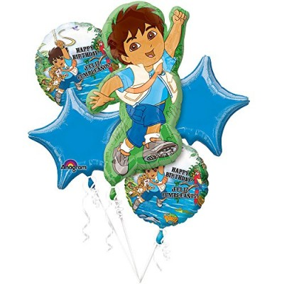 Go Diego Happy Birthday Mylar Balloon Bouquet (One Bouquet of 5 Balloons)