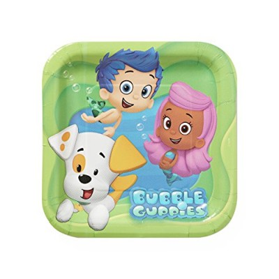 """American Greetings Bubble Guppies 7"""" Square Plate, 8 Count, Party Supplies Novelty"""