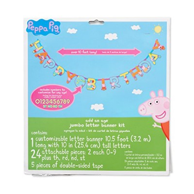 American Greetings Peppa Pig Add-an-Age Birthday Party Banner