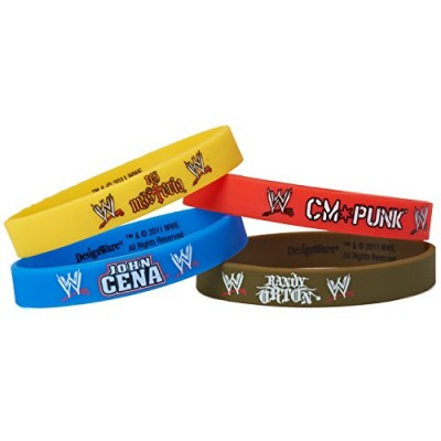American Greetings WWE Rubber Bracelets, 4 Count, Party Supplies Novelty