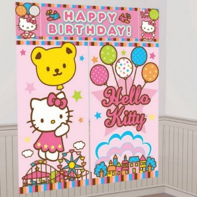 5-Piece Hello Kitty Balloon Dreams Scene Setter Set, Multicolored