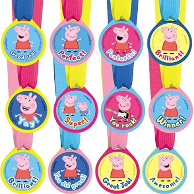 Amscan Peppa Pig Birthday Party Award Medals Favor (12 Piece), Multicolor, 13""