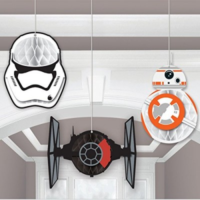 Amscan Star Wars Episode Vll Honeycomb Decorations, Assortment of Sizes, Multicolor