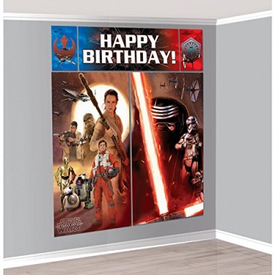 Amscan Star Wars Episode Vll Scene Setters Wall Decorating Kit, Multicolor