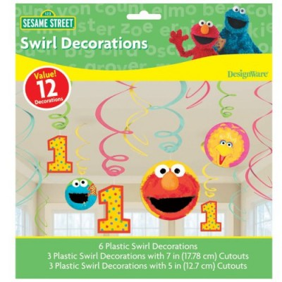 Sesame Street 1st Birthday - Swirl Decorations (12)