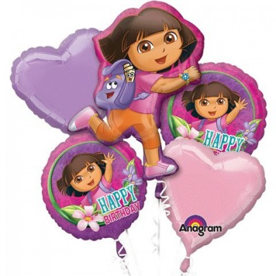 1 X Dora The Explorer Happy Birthday Mylar Foil Balloon Bouquet Set