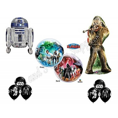 STAR WARS DELUXE Happy Birthday Balloons Decoration Supplies Chewbaca R2D2 Chewy by Anagram