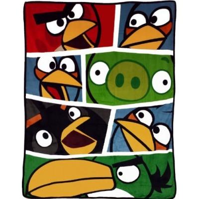 Angry Birds Blanket Bold Bird vs Pigs Game Plush Throw