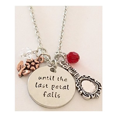AnnaKJewels Until the last petal falls necklace Beauty and the beast necklace, Hand stamped