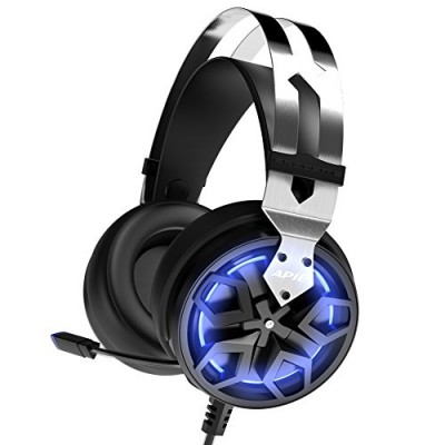 APIE Gaming Headset Comfortable 3.5mm Stereo Over-ear Headphone USB Wired PC Gaming Headset with Mic Vibration Function Volume Control Noise Cancel...