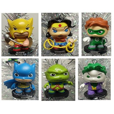 Baby Super Hero Set of 6 Mini Holiday Christmas Ornament Figures Featuring Martian Manhunter, Green Lantern, Hawk Woman, Wonder Woman, Batman, and ...