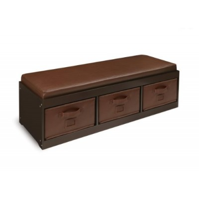 Badger Basket Kid's Storage Bench with Cushion and Three Bins, Espresso
