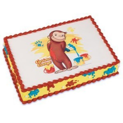 1 X Cute Curious George Monkey Edible Cake Image Topper