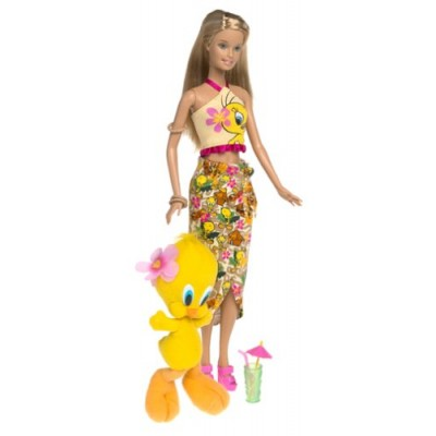 Barbie Year 2003 Looney Tunes Back in Action Series 12 Inch Doll Set - Barbie Loves Tweety Piolin Piu-Piu with Barbie Doll in Beach Outfit Holding ...