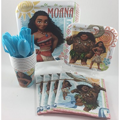 BashBox Moana Birthday Party Supplies Pack Including Cake & Lunch Plates, Cutlery, Cups & Napkins for 8 Guests