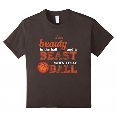 Kids I'm a Beauty in the Hall and a Beast when I Play Ball Shirt 4 Asphalt