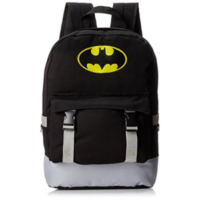 Batman Men's Rucksack Backpack with Distressed Screen Print, Black, One Size