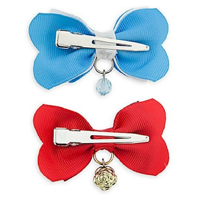 Beauty and The Beast Belle Hair Bow set of 2 Blue Charm and Golden Rose Charm