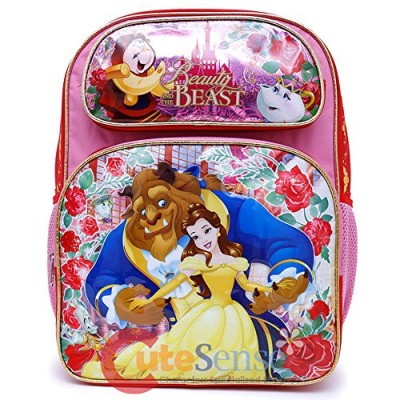 "Disney Beauty and the Beast School Backpack 16"" Large Belle Girls Book Bag"