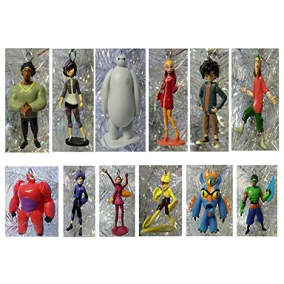 Disney Big Hero 6 Baymax & Friends 12 Piece Holiday Christmas Ornament Set Featuring Hiro Hamada, Baymax, Go Go Tomago, Honey Lemon, Wasabi and Fre...
