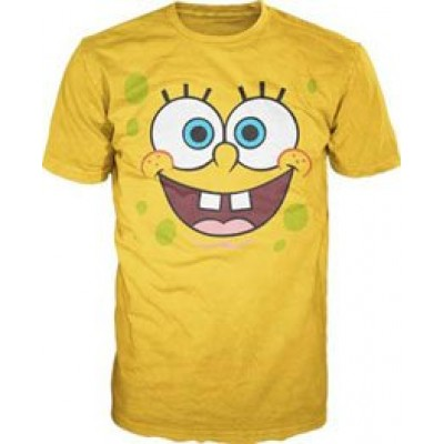 Bioworld Sponge Bob Square Pants Big Face Yellow Mens T-shirt S