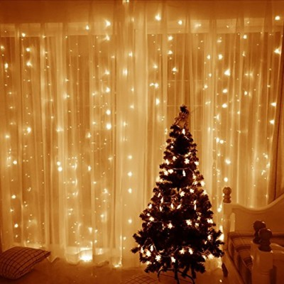 Blusow Curtain Lights 304led 9.8*9.8ft Warm White Christmas Curtain String Fairy Wedding Led Lights for Home, Garden, Holiday, Party, Outdoor Wall,...