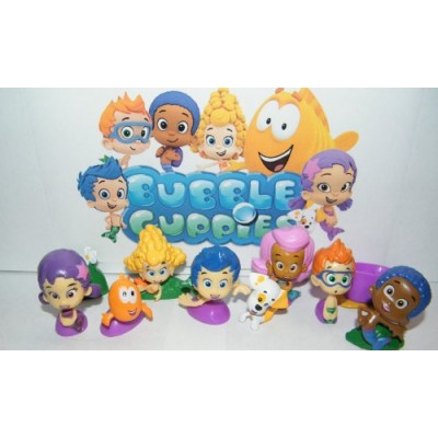 Nickelodeon Bubble Guppies Deluxe Figure Set Toy Playset of 12 with Gil, Molly, Bubble Puppy, Mr.Grouper, Guppies and More!