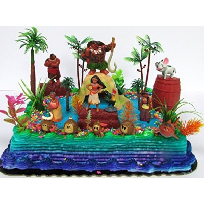 MOANA Birthday Cake Topper Set Featuring Various Characters and Decorative Themed Accessories