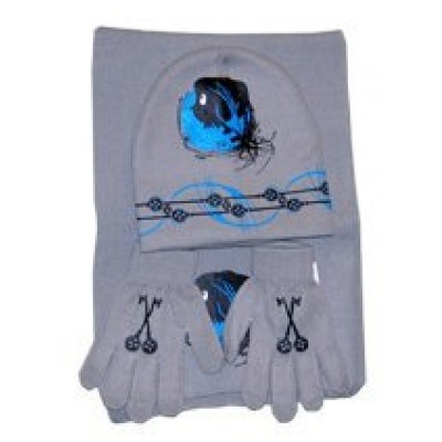 Coraline Hat, Glove, Scarf Set- Grey/blue Key