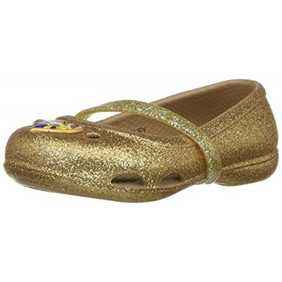 crocs Girls' Lina Beauty Andthe Beast Flat, Gold, 3 M US Little Kid