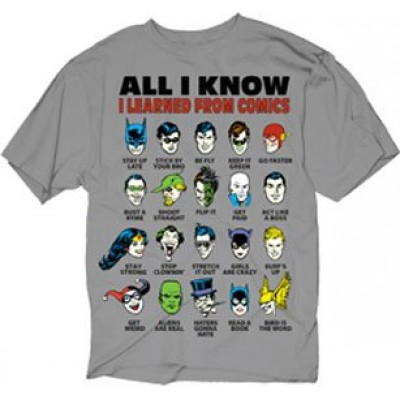 DC Comics All I Know I Learned From Comics Adult Silver T-Shirt (Medium)