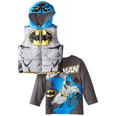 DC Comics Boys' 2 Piece Batman Vest Set, Gray, 2T