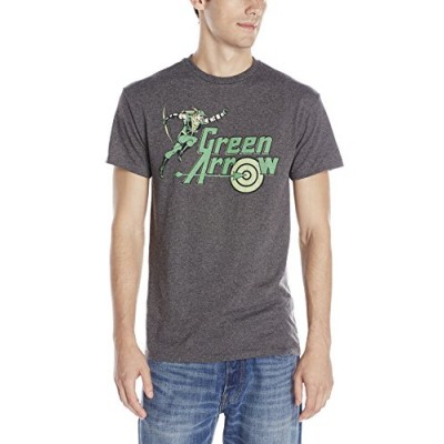 DC Comics Men's Arrow Of Green Short Sleeve T-Shirt, Charcoal Heather, Small