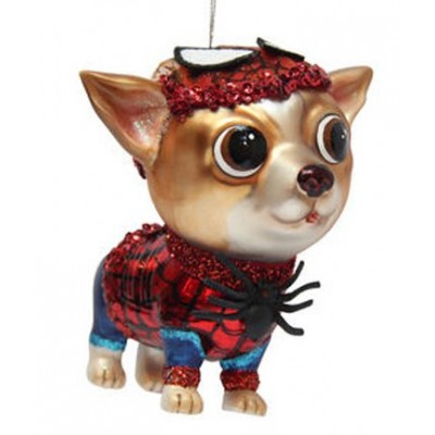 December Diamonds Blown Glass Ornament - Superhero Spider Chihuahua Dog