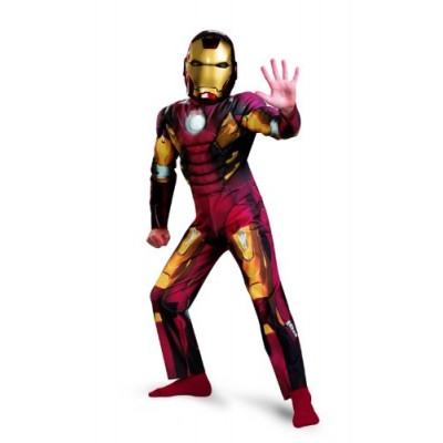 Avengers Iron Man Mark 7 Classic Muscle Costume, Red/Gold, Large