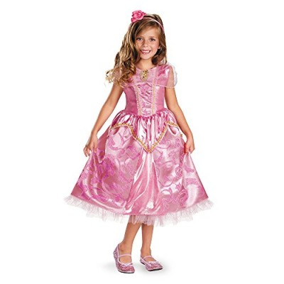 Disguise Disney's Sleeping Beauty Aurora Sparkle Deluxe Girls Costume, 4-6X