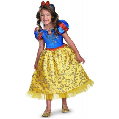 Disguise Disney's Snow White Sparkle Deluxe Girls Costume, 3T-4T