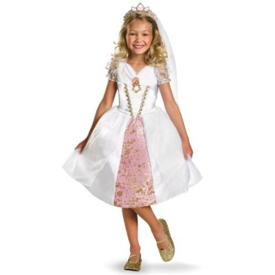 Disney Tangled Rapunzel Wedding Gown Costume, Gold/White/Pink, Small