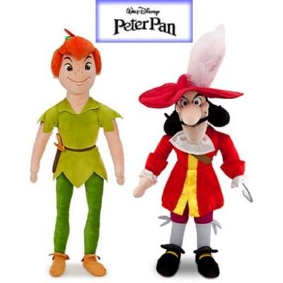 Disney Peter Pan and Captain Hook Plush Doll Set Stuffed Animal Toys