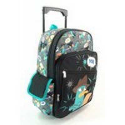 "16"" Phineas and Ferb Arms Crossed Rolling Backpack-tote-bag-school"