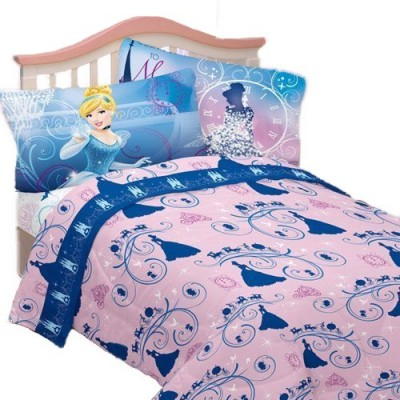 3pc Disney Cinderella Twin Bed Sheet Set Secret Princess Bedding Accessories