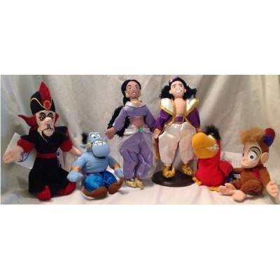 Aladdin Six Piece Bean Bag Set with Aladdin, Jasmine, Iago, Genie, Jafr and Abu