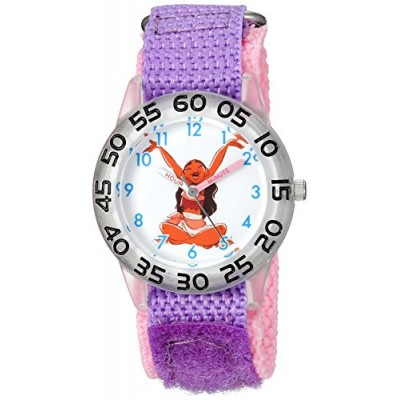 Disney Girl's 'Moana' Quartz Plastic and Nylon Casual Watch, Color:Purple (Model: WDS000041)