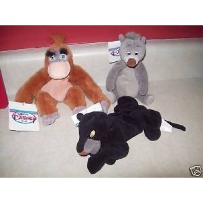 "Disney Jungle Book Set of 8"" Plush Bean Bags with King Louie, Baloo, and Bagherra Dolls"