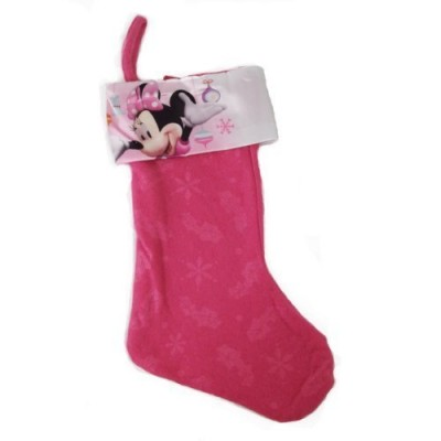 "Disney Minnie Mouse Bow-tique 16"" Felt Christmas Stocking with Printed Satin Cuff (Minnie with Ornaments and Snowflakes)"