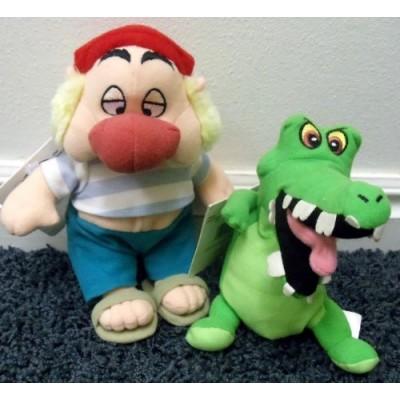 """Disney Peter Pan 8"""" Plush Bean Bag Set with Pirate Smee and Tick Tock Crock Doll"""
