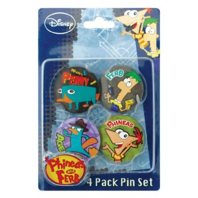Disney Phineas and Ferb Button, 4-Pack