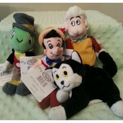 Disney Pinocchio, Figaro, Geppetto, Jiminy Cricket Bean Bag Set